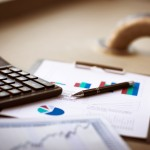 Business of financial analysis on workplace businessman
