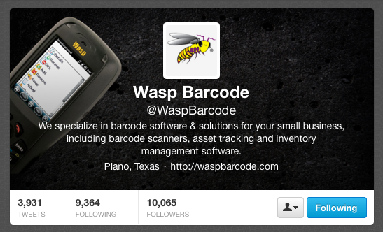 Wasp Barcode on Twitter
