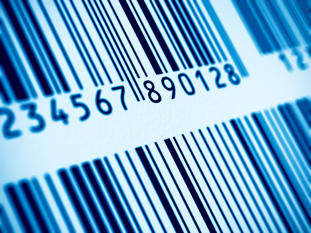 Macro view of blue barcodes with selective focus effect