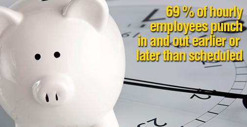 69 % of hourly employees punch in and out earlier or later than scheduled