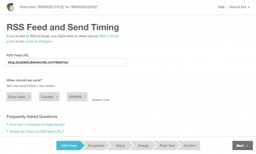 Rss Feed and Send Timing