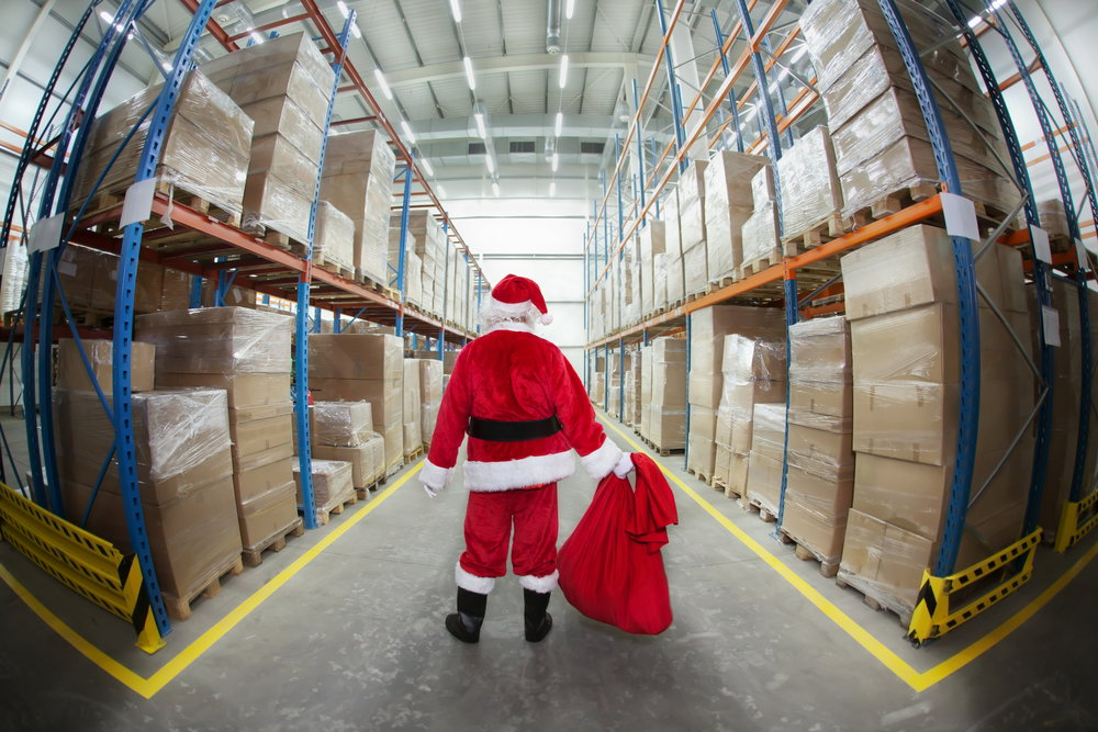 Santa Claus in Gifts Distribution Center
