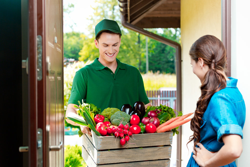 Delivery man delivering to home box with organic food, talking with female customer.