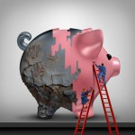 Financial credit recovery busness concept as a woman and man as bank or banking advisors repairing an old rusted piggy bank with a fresh coat of paint as a savings improvement metaphor with 3D illustration elements.